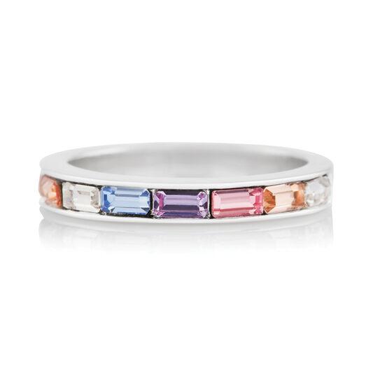 Rainbow Baguette Ring Silver (L)