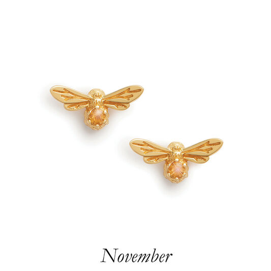 Celebration Stones Celebration Bee Studs Gold & Citrine (November)