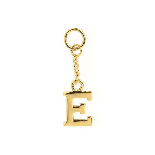 E Alphabet Huggie Charm Gold