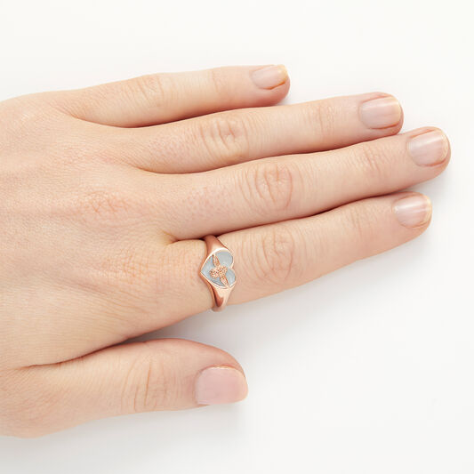Love Bug Signet Ring Gray & Rose Gold L