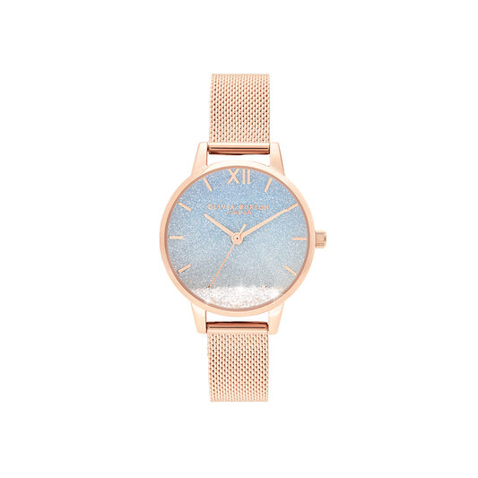 Wishing Wave Midi Dial Rose Gold Mesh Watch