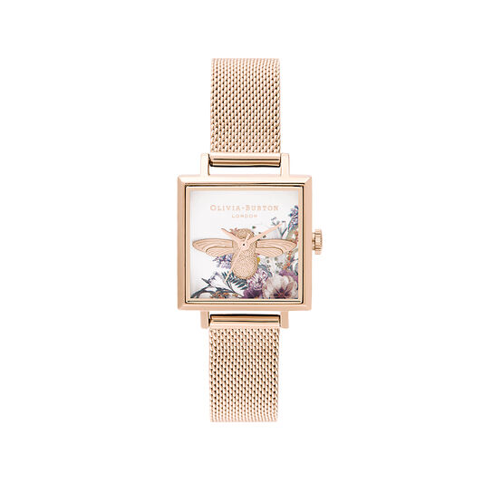 Enchanted Garden Square Dial & Pale Rose Gold Mesh