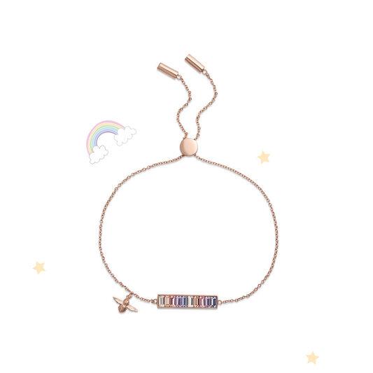 Rainbow Bee Baguette Bar Bracelet Rose Gold
