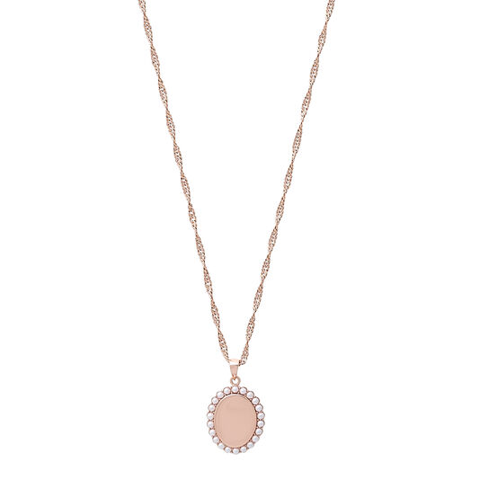 Antique Pearl Pendant Rose Gold Necklace