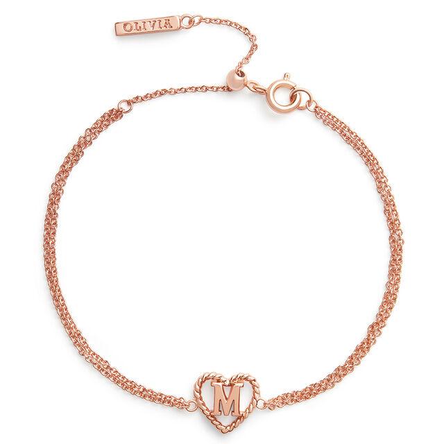 'M' Heart Initial Chain Bracelet Rose Gold