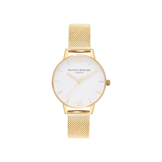 White Dial Gold Mesh Watch