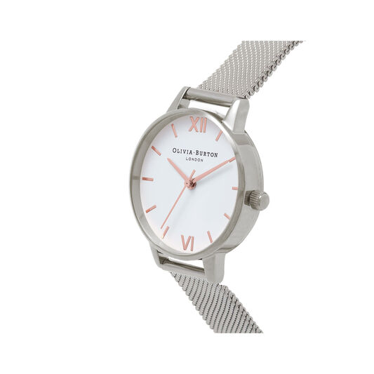 Midi Dial White Dial & Silver Mesh Watch