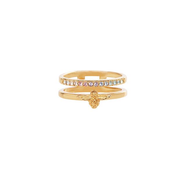 Rainbow Bee Ring Gold