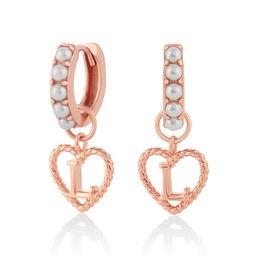 'L' Faux Pearl Heart Initial Huggie Hoop Rose Gold