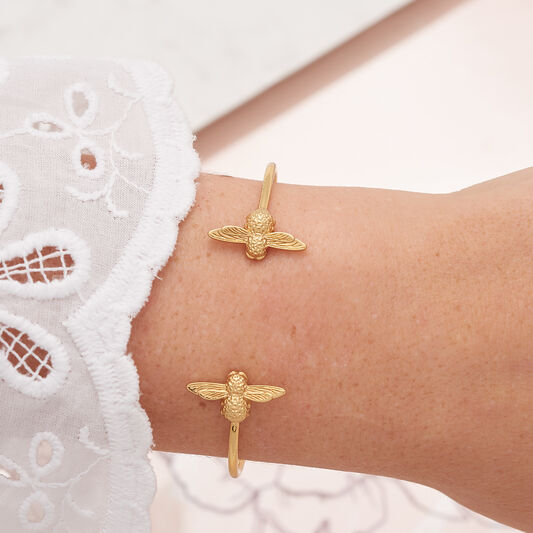 3D Bee Open End Bangle Gold