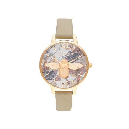 Olivia Burton Marble Florals 3D Bee Gold Watch