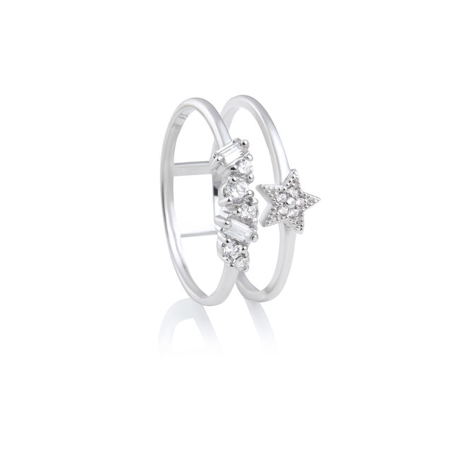Celestial Double Band Ring Rose Silver S