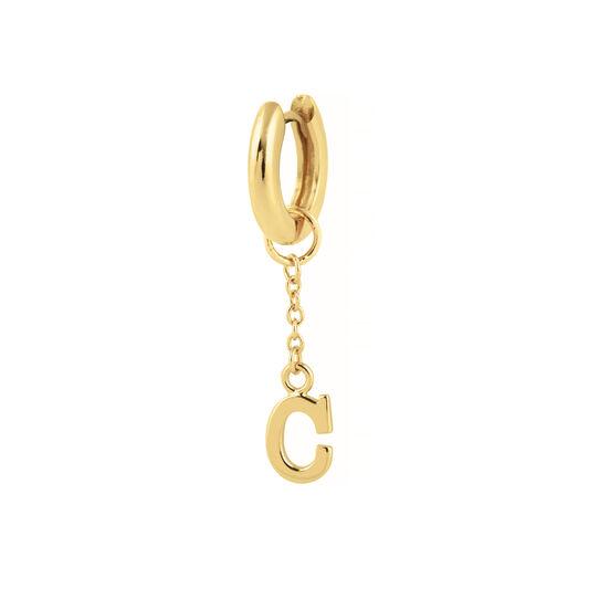 C Alphabet Huggie Charm Gold