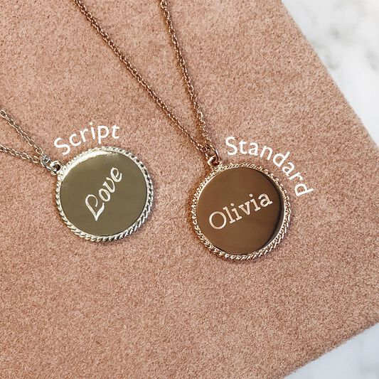 Engravable Disc Necklace Gold