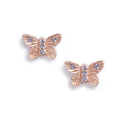 Bejewelled Butterfly Earrings Rose Gold & Rose Quartz