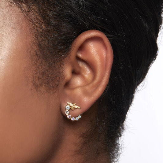 Rainbow Bee Swirl Hoop Earrings Gold